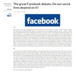 The great Facebook debate Do our social lives depend on it Redbrick University of Birmingham