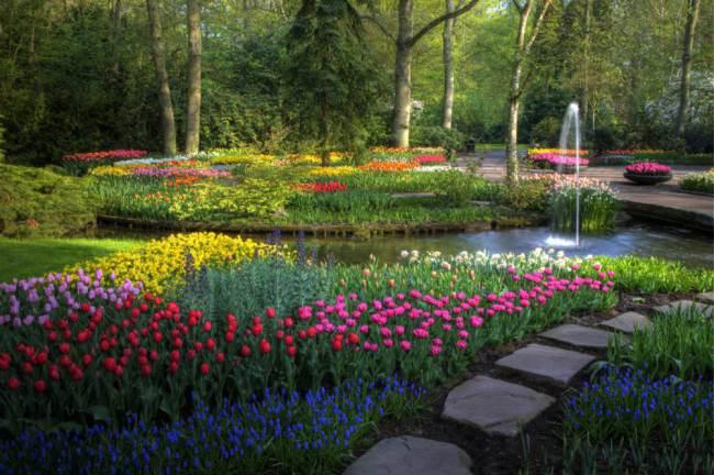 Springtime Keukenhof Gardens with pathway